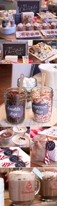 Christmas Baby Shower Ideas with free printable holiday decor! The ultimate hot chocolate bar from Kate Aspen!The ultimate hot chocolate bar from Kate Aspen! Winter Wedding Guests, Winter Wonderland Wedding, Wedding Reception, Winter Weddings, Drinks Wedding, Reception Ideas, Wedding Food Bar Ideas, Winter Wedding Ideas, Outdoor Winter Wedding