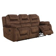Do your living room a favor with this chocolate brown recliner sofa. Padded seat backs, cushions, and armrests mean you'll always be reclining comfortably. With a rich brown color and quality craftsma