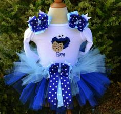 Cookie monster party tutu with hair clips