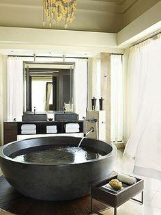 freistehende badewanne rund tief aus beton