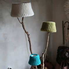 Floor lamp from driftwood oak feet and off white by DutchDilight