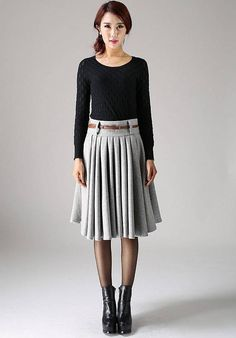 This fabulous knee-length wool skirt is a stylish staple for all those presentations you have to go to. Pair it with a short wool jacket if you fancy a spot of power dressing! The winter wool skirt is a classic cut and the perfect work skirt. It has a great shape for an effortless tailored