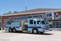 My hometown is known for it's baby blue firetrucks! No traditional red around here!