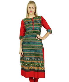 Bimba Women Indian Cotton Kurti Indian Ethnic Tunic 3/4th Sleeve Red Green Blouse - The Ultimate Shopping Portal