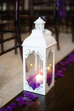 purple and white wedding, lanterns, aisle decorations www.aubreymarieblog.com