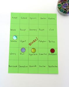 (Vocabulary) Play Vocabulary Bingo. The boards can be changed to reflect current vocabulary words.
