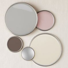 LOVE!  benjamin moore smoke embers, natural cream, van buren brown, and rose silk