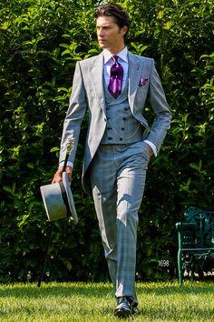 Light gray Prince of Wales morning coat #luxury #menswear #groom #wedding #madeinitaly