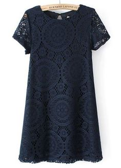 This Lace dress in navy hides a lot yet not your lovely legs