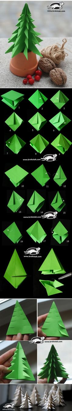 DIY Paper Christmas Tree To Decorate Your Rooms Instead of buying Christmas tree, you can make some paper Christmas tree with different colors to decorate your rooms. The steps are pretty simple - DIY Paper Christmas Tree Diy Paper Christmas Tree, Noel Christmas, Christmas Projects, Holiday Crafts, Christmas Decorations, Christmas Ornaments, Origami Christmas, Tree Decorations, Xmas Trees