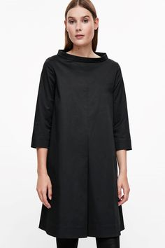 COS image 2 of Wide-neck sateen dress in Black