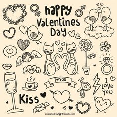 Garabatos del día de San Valentín Vector Gratis Más