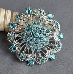 Teal Aqua Tiffany Blue Rhinestone Brooch Crystal Wedding Bridal Button Brooch Bouquet Cake Decoration Hair Comb Shoe Clip BR229
