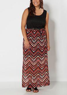 image of Plus Tribal Fire Maxi Dress