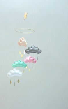"Star  Nursery cloud mobile ""NORA""  by The Butter Flying-Peach-grey-Pink,mint, White nursery. on Etsy, $84.01"