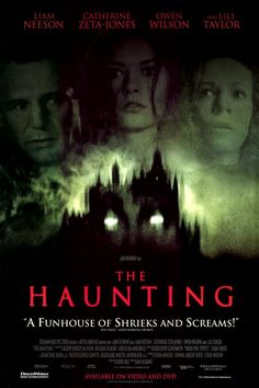 Haunting, The on DVD from d. Directed by Jan De Bont. Staring Lili Taylor, Catherine Zeta-Jones, Owen Wilson and Liam Neeson. More Horror, Ghosts and Movies DVDs available @ DVD Empire. Horror Movie Posters, Best Horror Movies, Scary Movies, Great Movies, Horror Dvd, Catherine Zeta Jones, Liam Neeson, Alfred Hitchcock, Les Fables