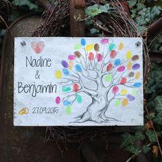 Shabby Chic Holzschild - Hochzeitsbaum für Fingerabdrücke