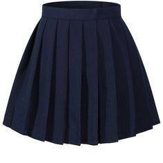 Beautifulfashionlife women's Japan high waisted Pleated Cosplay... ($14) ❤ liked on Polyvore featuring costumes, high waisted knee length skirt, high-waisted skirts, high waisted skirts, blue skirt and high rise skirts