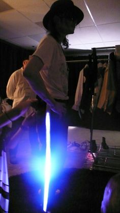 MJ trying on lighted Billie Jean trousers