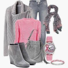 Look in grigio e rosa