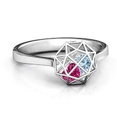 Diamond Cage Ring with Encased Heart Stones #jewlr