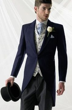 Navy tailcoat morning suit from www.suithiredirect.co.uk.