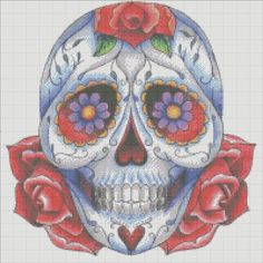 Handmade Sugar skull day of the dead Counted Cross Stitch Pattern PDF Hand Embroidery Needle Point. $6.50, via Etsy.