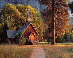 Beautiful old Baptist church in Yosemite National Park. One of the oldest churches in California.