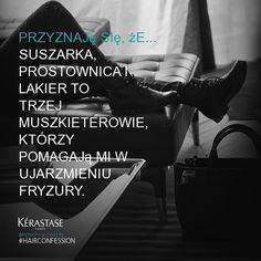 Suszarka, prostownica i lakier to trzej muszkieterowie, którzy pomagają mi w ujarzmieniu fryzury.  #hairconfession
