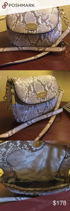 ⭐️Purse⭐️ ⭐️MK Bedford Flap Crossbody⭐️In Cocoa with a snake skin print⭐️Very roomy on the inside with a zip pocket⭐️Flap features a zip opening that runs the entire length of the bag⭐️🚫No Trades🚫 MICHAEL Michael Kors Bags Crossbody Bags