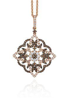 Le Vian® Chocolate Diamond® and Vanilla Diamond® Pendant in 14k Strawberry Gold® - Belk Exclusive