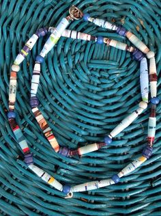 Blue Paper Beads Necklace with clasp Handmade Boho by SoSheDidShop