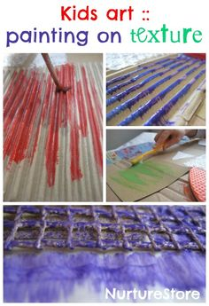 Kids art :: painting on texture - great art experiments for kids, sensory play and creativity in one, using materials from around the home
