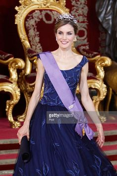 Queen Letizia of Spain receives Peruvian President Ollanta Humala Tasso at the Royal Palace on July 7, 2015 in Madrid, Spain.  (Photo by  Jose Luis Cuesta - Pool/Getty Images)