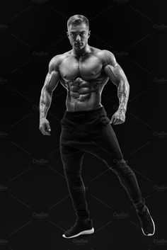 Shirtless perfect physique sportsman by Usmanov Stock Photography on @creativemarket