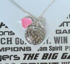 Volleyball necklace with rhinestones, via Etsy. 25 bucks.