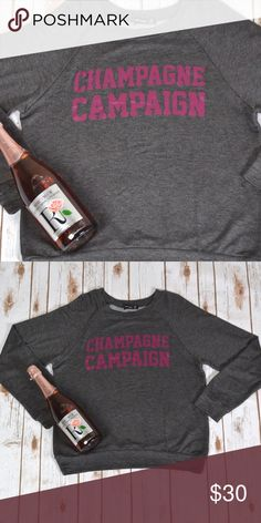 FLASH SALE Champagne Campaign Sweater  Light sweater. Super super soft  60% rayon 37% polyester 3% spandex. Gray sweater with pinkish purple lettering. No trades. No lowball offers. Sweaters
