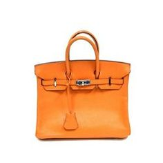 8c423ad3ba6 Authentic Vintage Hermes 25cm Birkin Bag in Orange Ardenne Leather with  Palladium Hardware - Longfellow Auctions