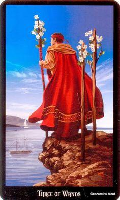 3 de bâtons - Tarot sorcières par Ellen Dugan & Mark Evans