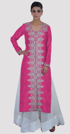 Tilla Embroidered Pink Yarrow Pure Raw Silk Jacket
