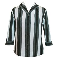 Rockabilly / beatnik 1950s grey white black striped cotton blouse by St Michael, available at Candy Says Vintage Clothing www.candysays.co.uk