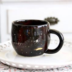 Galaxy Mug  Constellation Gold Nebula Stars  by BackBayPottery
