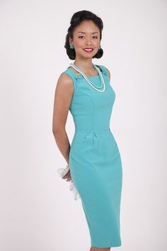 BETTIE PAGE Pin Up Girl Chic Spring JOY Turquoise Blue Pencil DRESS XL-4X New
