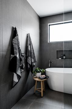 If you have a small bathroom in your home, don't be confuse to change to make it look larger. Not only small bathroom, but also the largest bathrooms have their problems and design flaws. Minimalist Bathroom Design, Bathroom Interior Design, Bathroom Styling, Minimalist Design, Black Tile Bathrooms, Modern Bathroom, Small Bathroom, Bathroom Bath, Bathroom Ideas