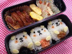 Twitter from @riekorin おはよう(^O^) 今日のお弁当は白くま君♪ #kyaraben #obentoart