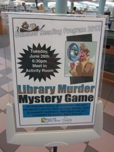 Getting a Clue at the Library. Love the murder mystery idea!