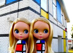 Blythe Doll and Mondrian painted house.