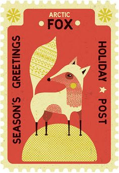 illustration, animal, arctic fox, design, pattern, stamp, naive. Tom Frost