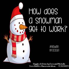 -Tonight's Joke for Tomorrow's Students!⠀ How does a Snowman get to work?⠀ By… Tonight's Joke for Tomorrow's Students!⠀ How does a Snowman get to work?⠀ By icicle! Cute Jokes, Funny Jokes For Kids, Best Funny Jokes, Funny Puns, Kid Jokes, Funny Stuff, Funny Quotes, Kid Stuff, Hilarious