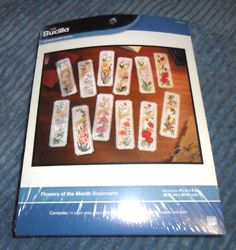 "Bucilla Flowers of the Month 12 Bookmarks Counted Cross Stitch Kit  2 1/2"" x 8"" #Bucilla #Bookmark    $17.99"